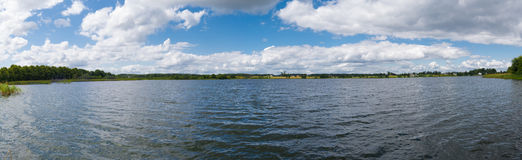 Wide panorama of lake in Lubichowo. Picture of lake in Lubichowo, small town in Poland Royalty Free Stock Photography