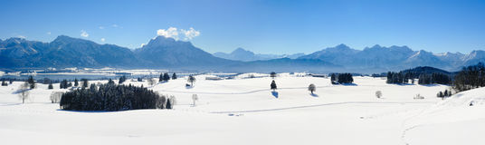 Wide panorama landscape in Bavaria with alps mountains and lake in winter Stock Images