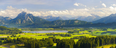Wide panorama landscape in Bavaria Royalty Free Stock Image