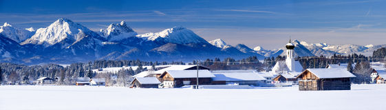 Wide panorama landscape in Bavaria at winter Stock Images