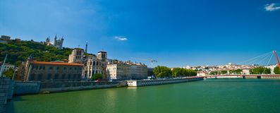 Lyon panorama with river on sunny summer day royalty free stock photography