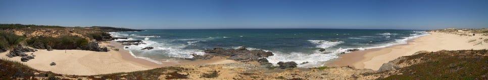 Wide panorama of Malhao beach near Vila Nova de Milfontes Stock Images