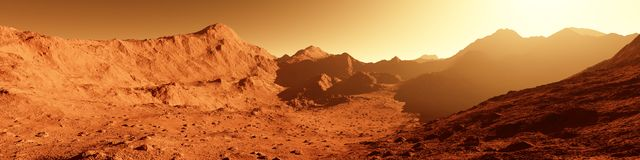 Wide panorama of mars - the red planet - landscape with mountain Royalty Free Stock Image