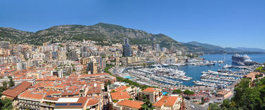 Wide Panorama of Monaco Monte Carlo Royalty Free Stock Photography