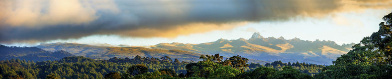 Wide panorama of mt Kenya. And its rain forests Royalty Free Stock Photos