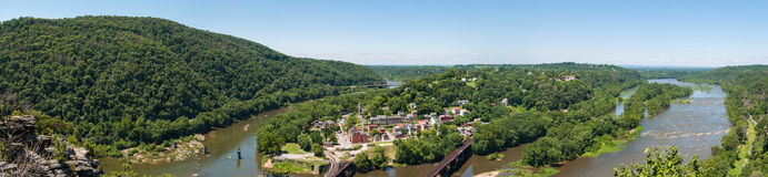 Wide Panorama Overlooking Harpers Ferry, West Virginia from Mary royalty free stock image