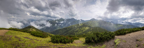 Wide panorama from polish mountain Grześ Royalty Free Stock Images