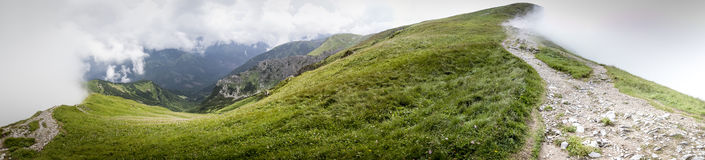 Wide panorama from polish path from mountain Grześ Royalty Free Stock Photos