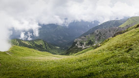Wide panorama from polish path from mountain Grześ Stock Image