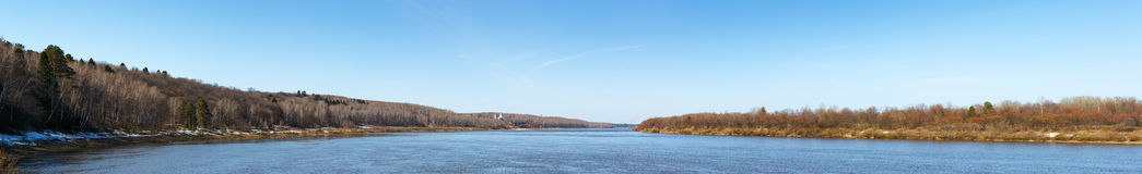 Wide panorama of a river Stock Photography