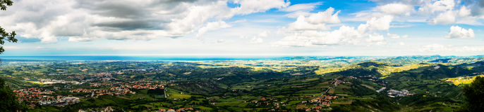 Wide panorama of San Marino. A wide high-resolution panorama of San Marino state stock photos