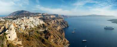 Wide panorama of the Santorini island Royalty Free Stock Photo