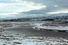 Wide panorama shot of winter mountain landscape, Iceland Stock Images