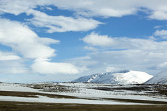 Wide panorama shot of winter mountain landscape, Iceland Royalty Free Stock Image