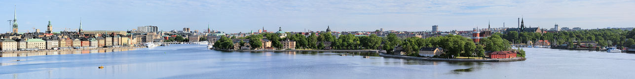Wide panorama of Stockholm, Sweden. Panorama of Gamla Stan, Norrmalm, Ostermalm, Skeppsholmen, Kastellholmen and Djurgarden in Stockholm, Sweden Royalty Free Stock Photos