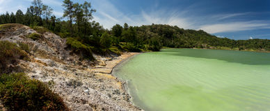 Wide panorama of sulphurous lake - danau linow indonesia Royalty Free Stock Images