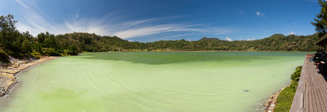 Wide panorama of sulphurous lake - danau linow indonesia Royalty Free Stock Photo