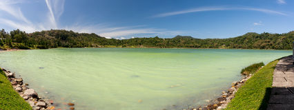 Wide panorama of sulphurous lake - danau linow indonesia Royalty Free Stock Photography