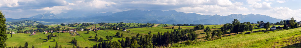 Wide panorama of the Tatras and Podhale. Stock Photography