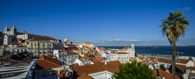 wide panorama view of Alfama quarter in lisbon, portugal Royalty Free Stock Photo