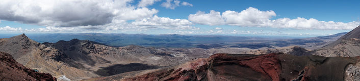 Wide panorama view of volcanoes and valleys at Tongariro crossing Stock Images