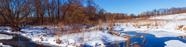 Wide Panorama Winter Landscape with Forest and River Royalty Free Stock Photo