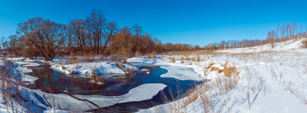 Wide Panorama Winter Landscape with Forest and River Royalty Free Stock Images