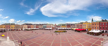 Wide Panorama of Zamosc Royalty Free Stock Image
