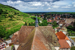Wide panoramic bird-fly view. Alsace hills. Stock Photography