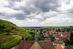 Wide panoramic bird-fly view. Alsace hills. Stock Photo