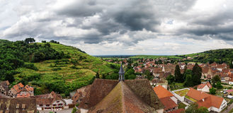 Wide panoramic bird-fly view. Alsace hills. Stock Images
