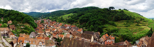 Wide panoramic bird-fly view. Alsace hills. Royalty Free Stock Images