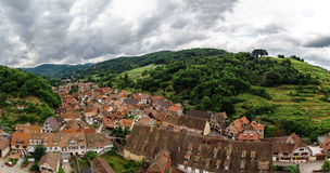 Wide panoramic bird-fly view. Alsace hills. Stock Photos