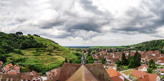 Wide panoramic bird-fly view. Alsace hills. Stock Image