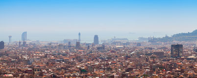 Wide panoramic cityscape of Barcelona Royalty Free Stock Photos