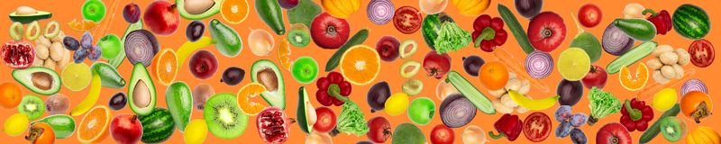 Free Wide Panoramic Collage Of Vegetables And Fruits Food Pattern Stock Photos - 134210793