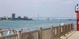 Wide panoramic high definition picture of the Ambassador bridge between USA and Canada. In Detroit Michigan stock photography
