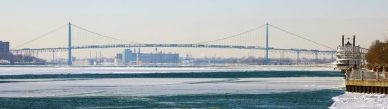 Wide panoramic high definition picture of the Ambassador bridge between USA and Canada. In Detroit Michigan royalty free stock photos
