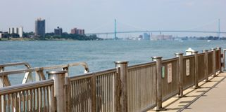 Wide panoramic high definition picture of the Ambassador bridge between USA and Canada. In Detroit Michigan royalty free stock photo