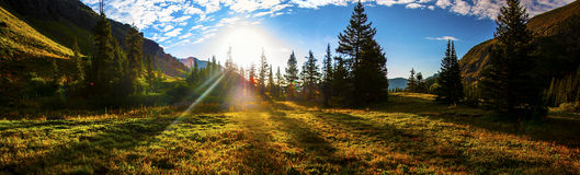 Wide Panoramic Ice Lake Basin Sun Beams of Morning Wilderness. In the amazing and majestic San Juan Mountain Range in southwest Colorado. near Durango and Stock Photos