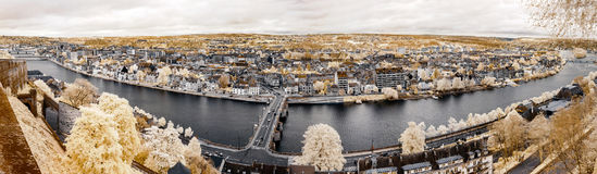 Wide panoramic infrared view of Namur Royalty Free Stock Image