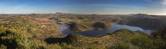 Wide Panoramic Landscape Lake Hodges Bernardo Mountain San Diego County royalty free stock photography