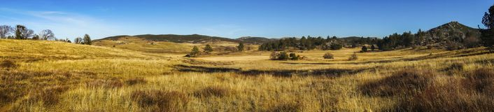 Alpine Meadows Wide Panoramic Landscape Cuyamaca Rancho State Park San Diego County. Wide Panoramic Landscape Scenic View of Alpine Meadows and Natural Grassland royalty free stock image
