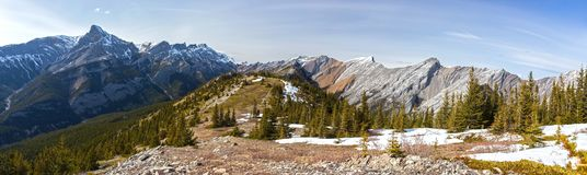 Wide Panoramic Landscape View of Exshaw Mountain Ridge, Green Meadows and Distant Snowcapped Canadian Rockies Peaks on a sunny Spr royalty free stock photography