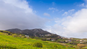 Wide panoramic mountain landscape. Tangier, Morocco Royalty Free Stock Image
