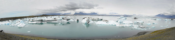 Wide picture of glacier lagoon Stock Images