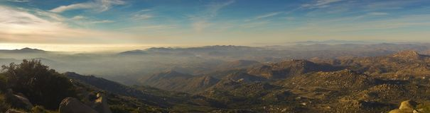 Wide Panoramic San Diego County Landscape Poway Mount Woodson. Wide Panoramic Scenic Landscape of San Diego County Inland and Distant Marine Layer over Pacific stock image
