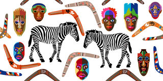 Wide panoramic seamless vector border with African masks, boomerangs and zebras. Royalty Free Stock Photo