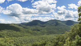 Blackhead Range of the Catskill Mountains in Summer. A wide panoramic view of the Blackhead Range in the northern Catskill Mountains of New York State royalty free stock photography