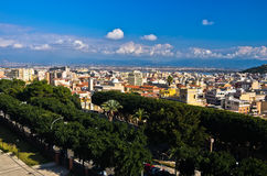 Wide panoramic view of Cagliari from Castello walls, Sardinia Royalty Free Stock Images